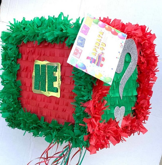 Xmas He or She Christmas Gender Reveal Gift Box Pinata