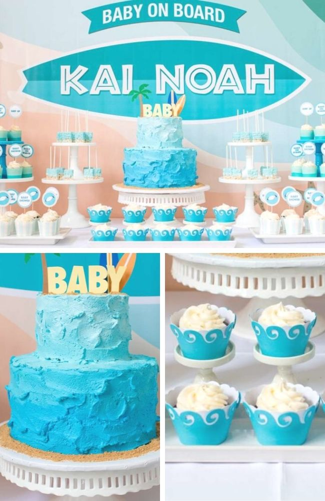 Surfing Baby on Board Baby Shower Tablescape