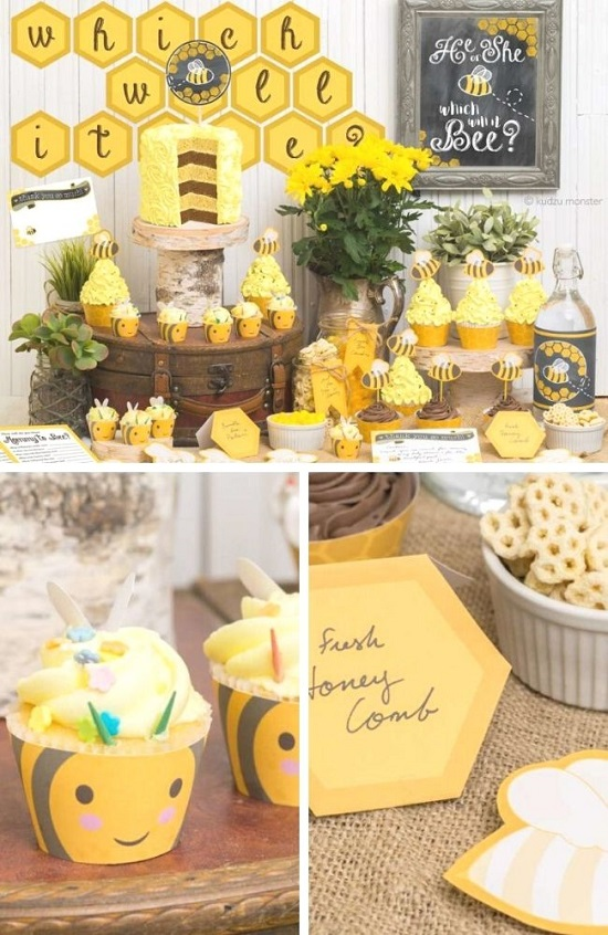 Bumblebee Gender Reveal Baby Shower tablescape