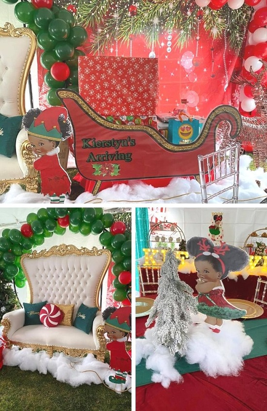 Christmas Baby Shower for a Baby Girl Tablescape
