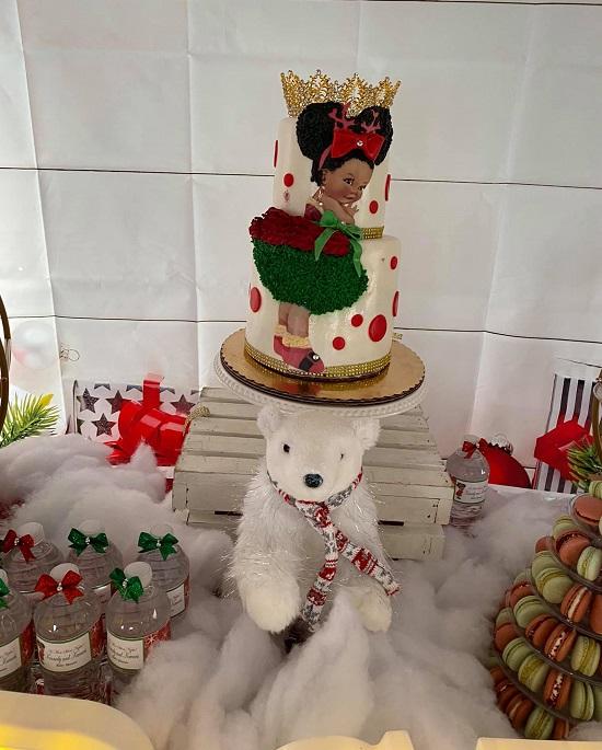 Christmas baby girl cake