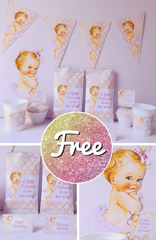 Free Pink and Gold Princess Baby Shower Template Download