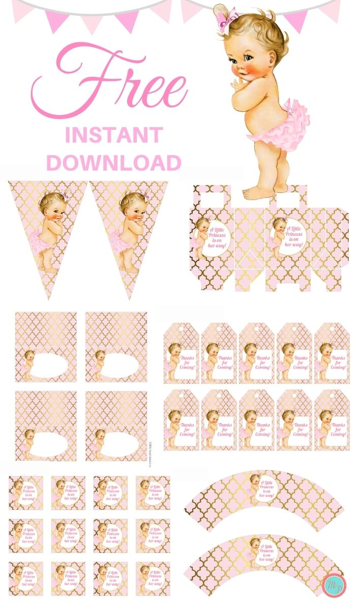 Free-Pink-and-Gold-Princess-baby-shower-Package-Instant-download