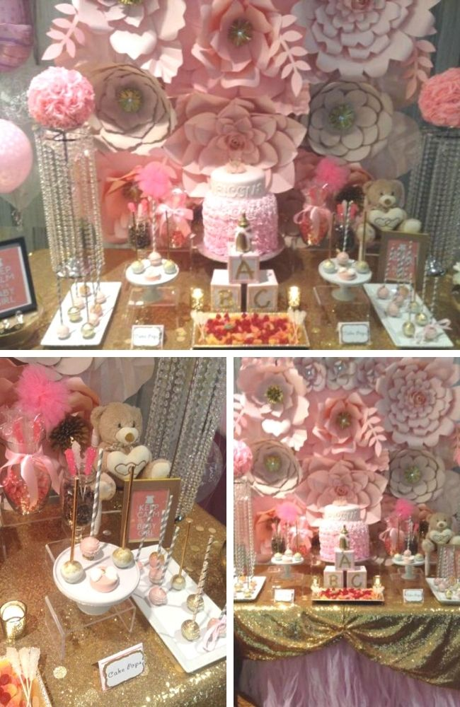 Glamorous Pink Floral Baby Shower Tablescape