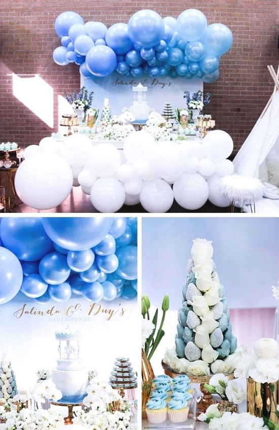Luscious Blue and Gold Carousel Baby Shower Tablescape