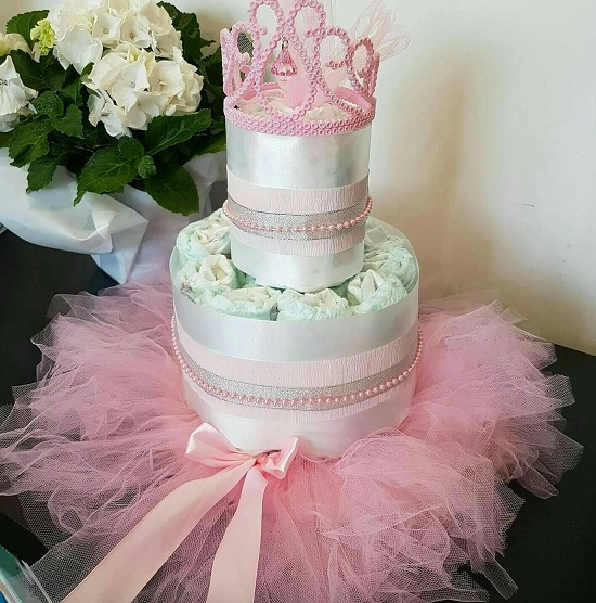 Princess-Baby-Shower-Diaper-Cake-Pink-Silver-Tutu-Crown-diaper