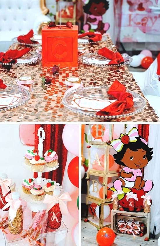 Strawberry Shortcake Baby Shower Tablescape