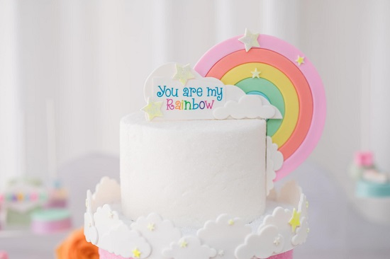 adorable rainbow baby shower cake