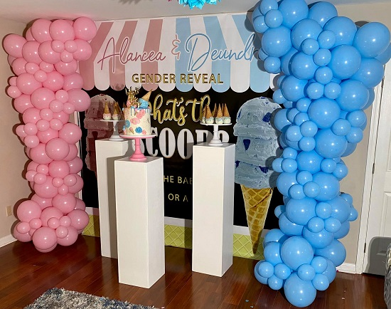 he or she gender reveal tablescape