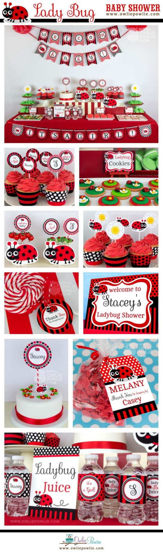 ladybug themed baby shower printable pack