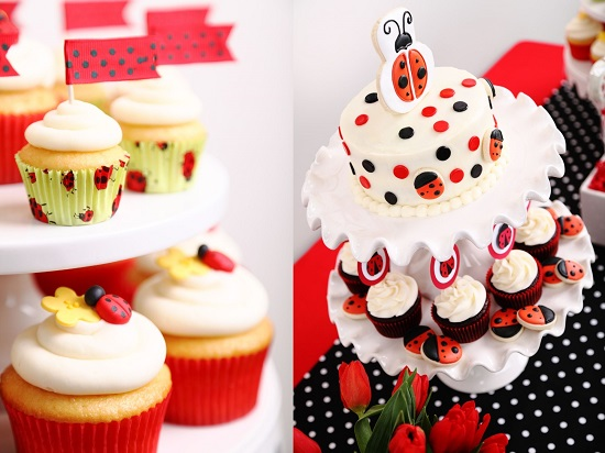ladybug themed cake and cupcake centerpiece