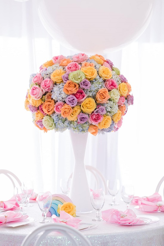 pastel rainbow colored flower arrangement