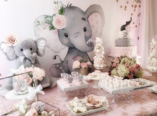 pink elephant baby shower