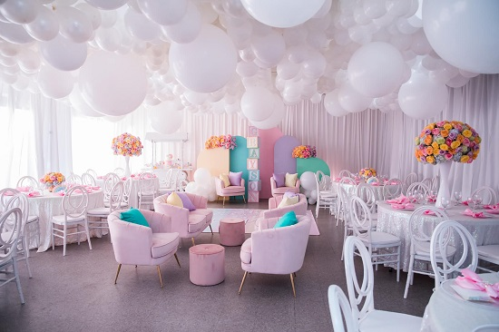 rainbow themed baby shower event