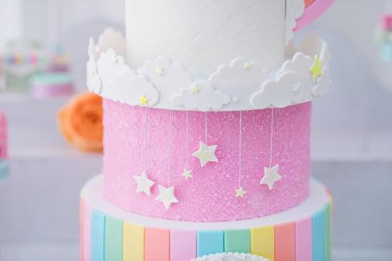 3 layer rainbow cake stars dangling