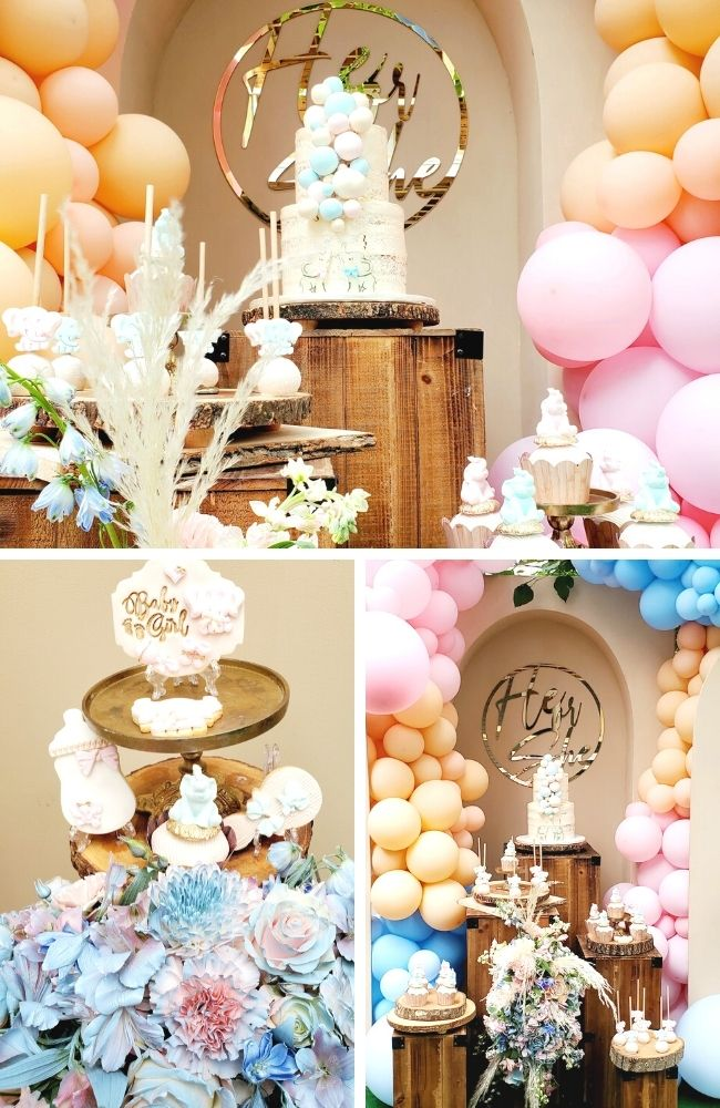 He or She Boho Outdoor Gender Reveal tablescape