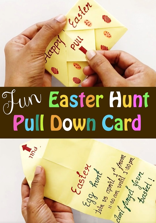 Making Pull Tab Easter Hunt Invitation/Envelope Card
