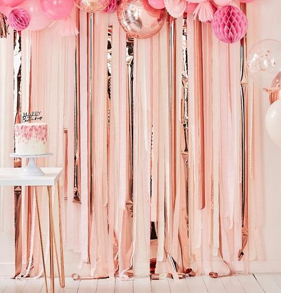 Pink Rose Gold Streamer Baby shower Backdrop