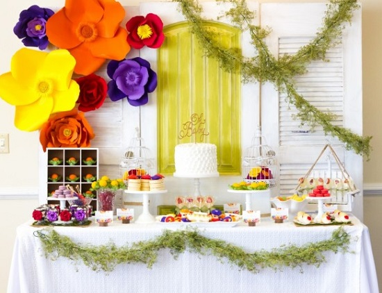 artificial paper flower backdrop for baby shower