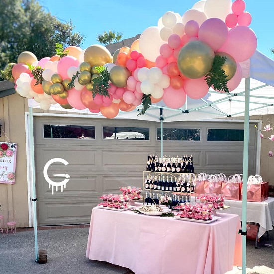 drive by pink and gold baby shower tea party