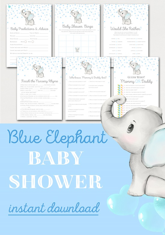 gray and blue elephant baby shower game package
