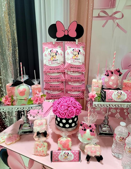 Minnie Mouse Baby Shower Dessert Table