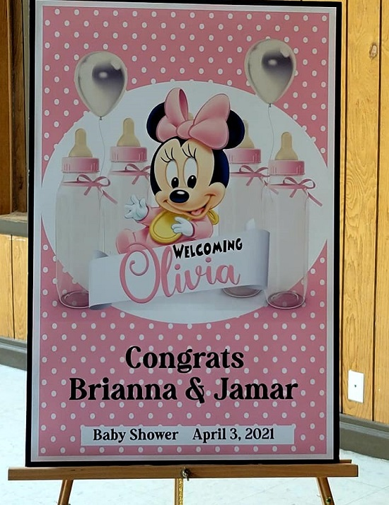 Pink Minnie Mouse Baby Shower Welcome Sign
