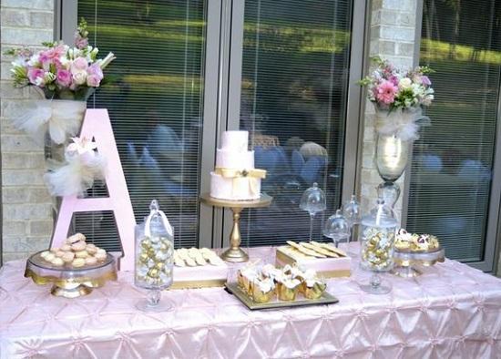 Pink and Gold Elegant Baby shower Dessert table