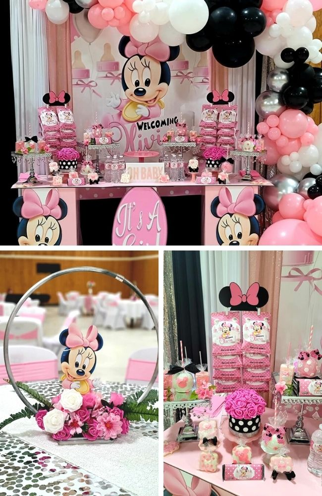 Pink and Silver Minnie Mouse Baby Shower Tablescape