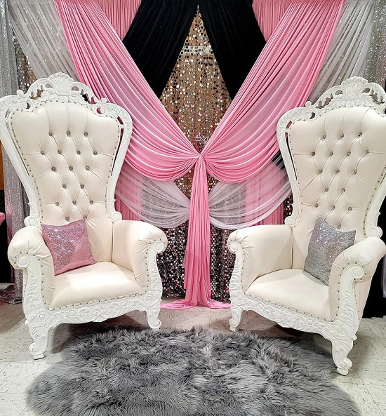 Pink and Silver Minnie Mouse Throne Chairs