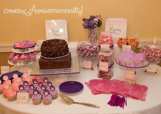 Princess themed candy buffet setup