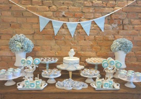 baby blue baby shower dessert table setup ideas