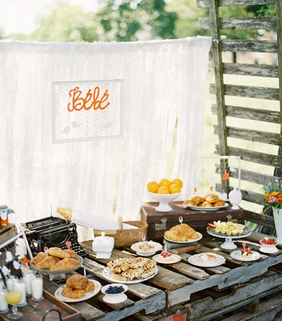 french country baby shower buffet table ideas