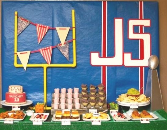Football Baby Shower Food Buffet Table Setup