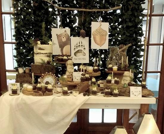 woodland baby shower dessert table