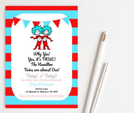 Editable Dr Seuss Twin baby shower invitation