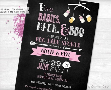 Pink Babies Beer and BBQ Baby Shower Invitation