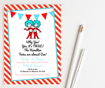 editable Thing 1 Thing 2 baby shower invitation