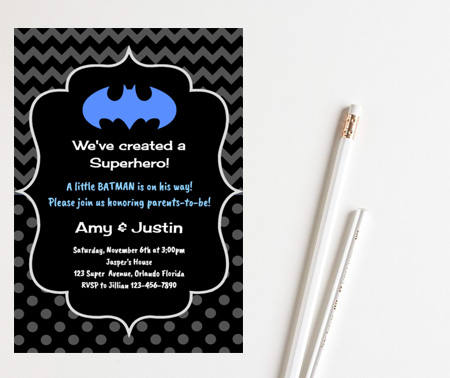 free boy batman baby shower invitation