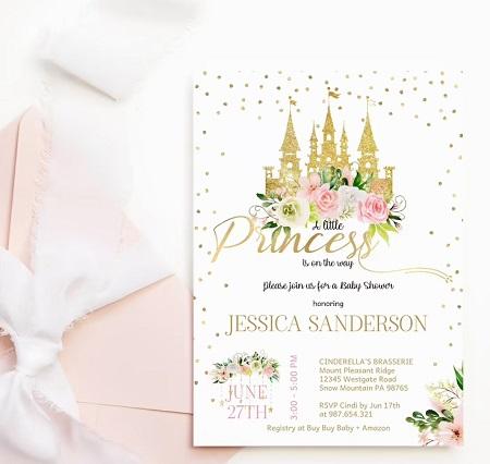Editable Little Princess Baby Shower Invitation Template