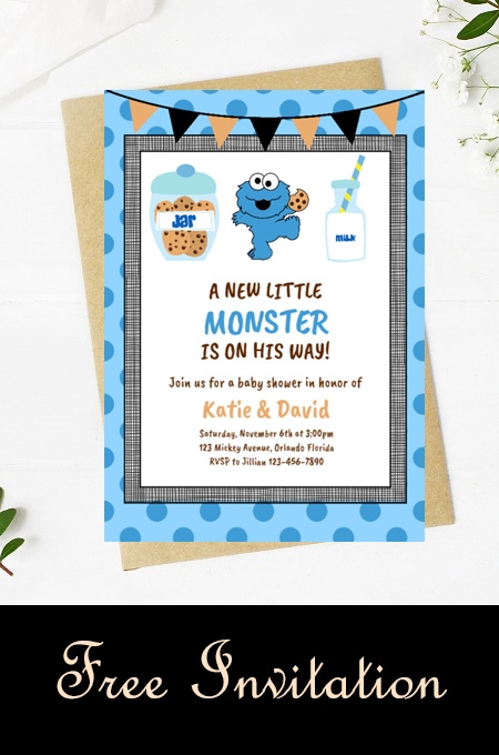 Free editable cookie monster baby shower invitation