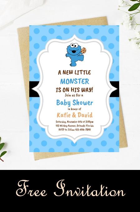 Free editable baby cookie monster baby shower invitation