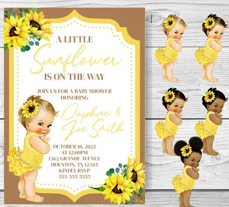 little sunflower is on the way invitation