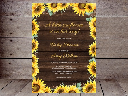 a little sunflower is on the way invitation