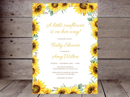 editable sunflower baby shower invitation