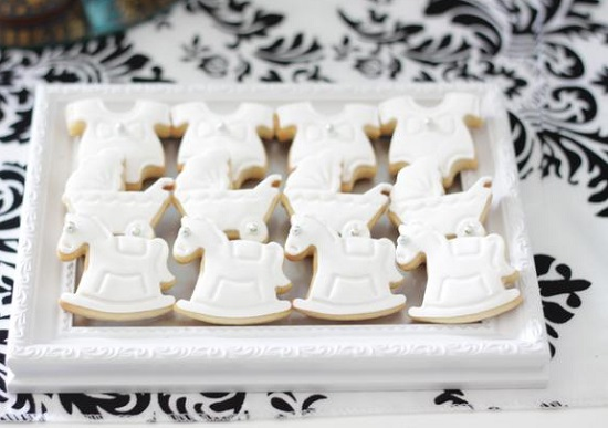rocking horse cookies on photoframe